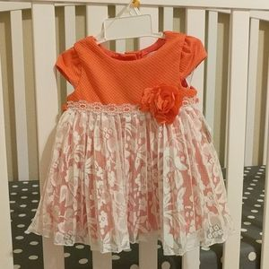 Coral & White 12M Baby Girl Dress